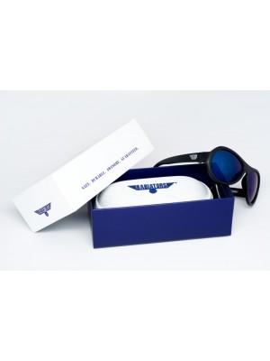 Black Ops Black with mirrored Blue lenses Polarised Babiators kids sunglasses in case packaging