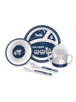 Lady Jayne 5 Piece Melamine Feeding Gift Set - Blue Transport