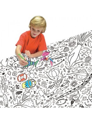 Colour-in tablecloth - Seaside boy colouring