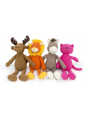 Crochet Animal brown Moose, orange Lion, brown Horse, pink Cat