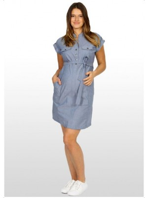 Eve of Eden Blue Chambray Maternity Shirt Dress - Front