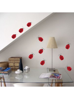 Vinyl Designs Ladybugs Black & Red