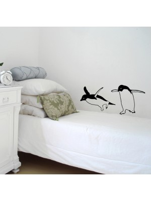 Vinyl Designs Two Funny Penguins Black