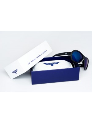 Black Ops Black with mirrored Blue lenses Polarised Babiators kids sunglasses in case packaging