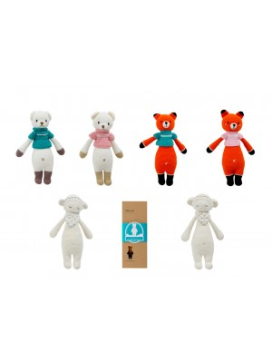 Hand Knitted Dream Guardian Bear, Fox, Sheep, Gift Box Soft Toy