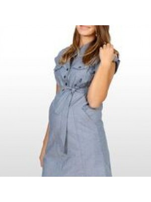Eve of Eden Blue Chambray Maternity Shirt Dress - Side