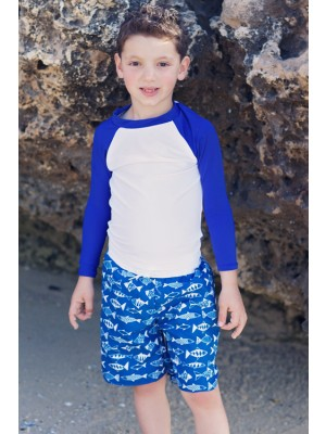 Heavenlee Swimwear - Geo Fish Boardshorts with rash longsleeved top