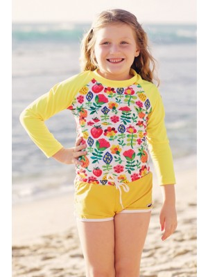 Heavenlee Swimwear - Summer Garden boadshort with rash long sleeved top