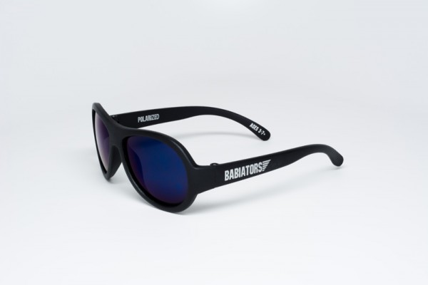 Black Ops Black with mirrored Blue lenses Polarised Babiators kids sunglasses with case