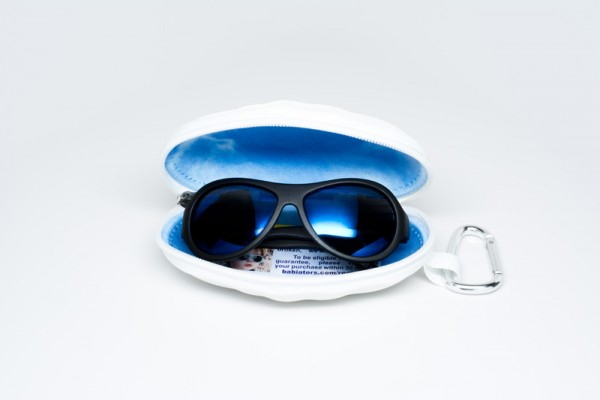 Black Ops Black with mirrored Blue lenses Polarised Babiators kids sunglasses in case