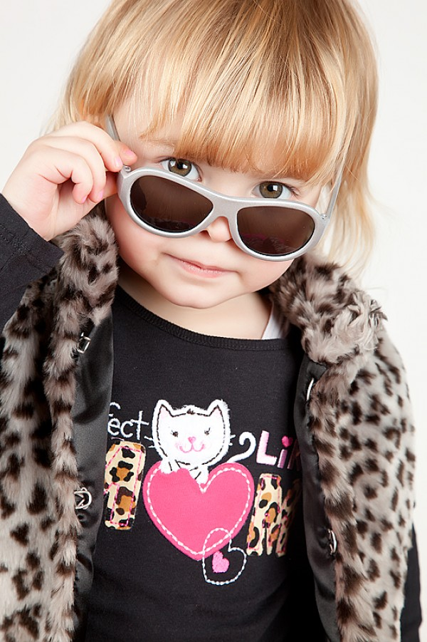 Toddler wearing Galactic Grey original Babiators kids sunglasses