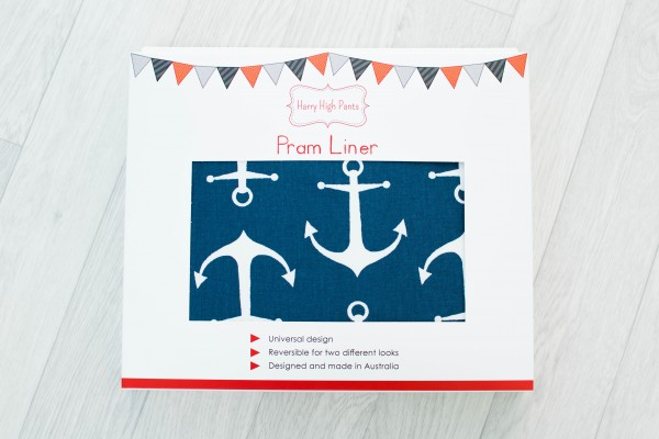 Harry High Pants Pram Liner & Strap Covers - Anchors Away Packaging