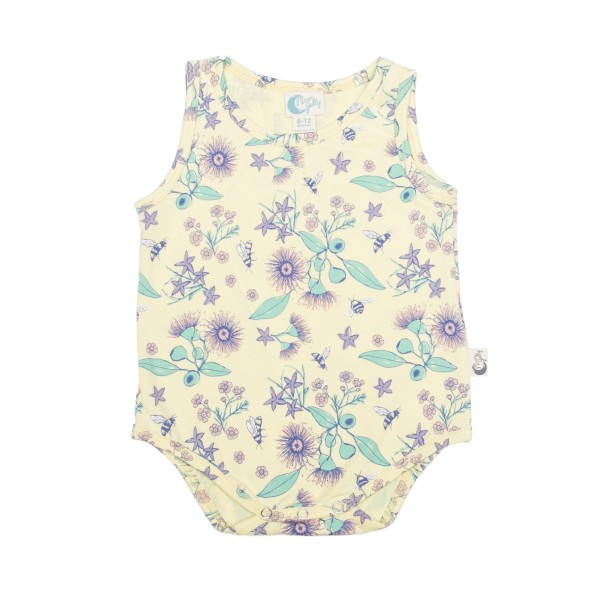 Moon Jelly Bodysuit - Floral Bee flat lay