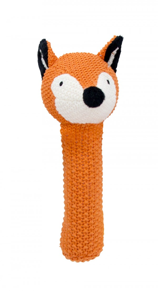 Crochet baby hand rattle Fox, orange