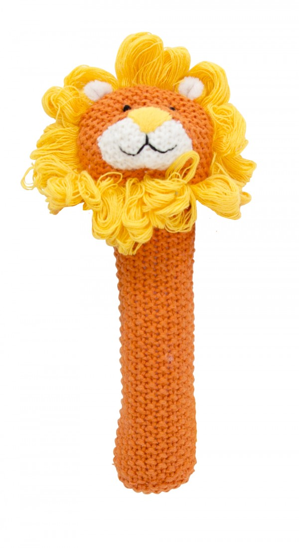 Crochet baby hand rattle Lion, orange