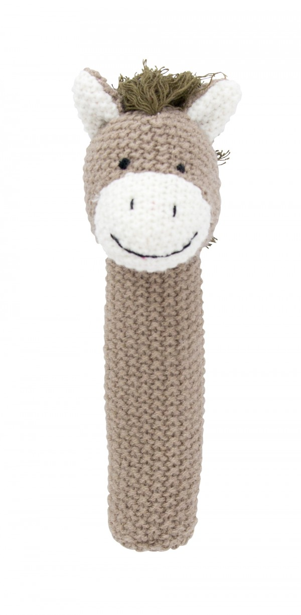 Crochet baby hand rattle Horse, brown