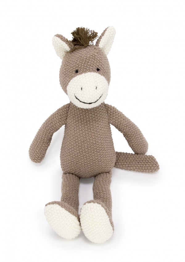 Crochet Animal brown Horse toy sitting