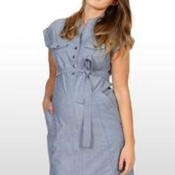 Eve of Eden Blue Chambray Maternity Shirt Dress - Close up