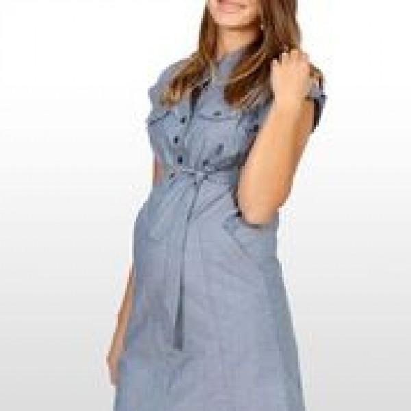 Eve of Eden Blue Chambray Maternity Shirt Dress - Side
