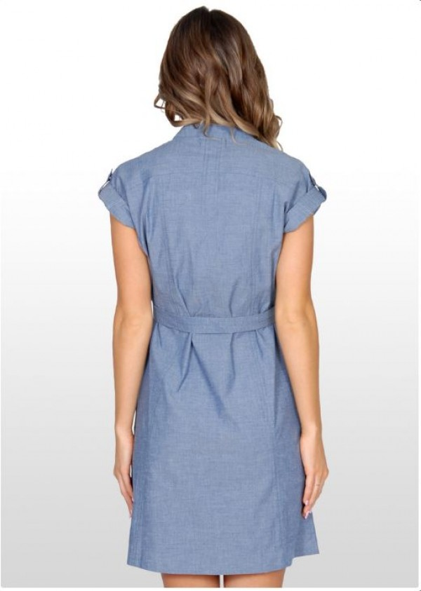 Eve of Eden Blue Chambray Maternity Shirt Dress - Back