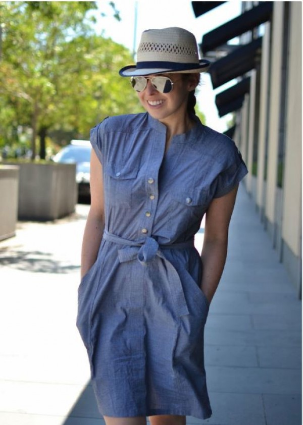 Eve of Eden Blue Chambray Maternity Shirt Dress - Casual