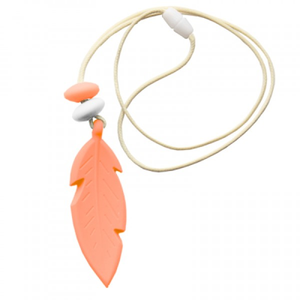 Nibbly Bits Feather Silicon Pendant - Peach