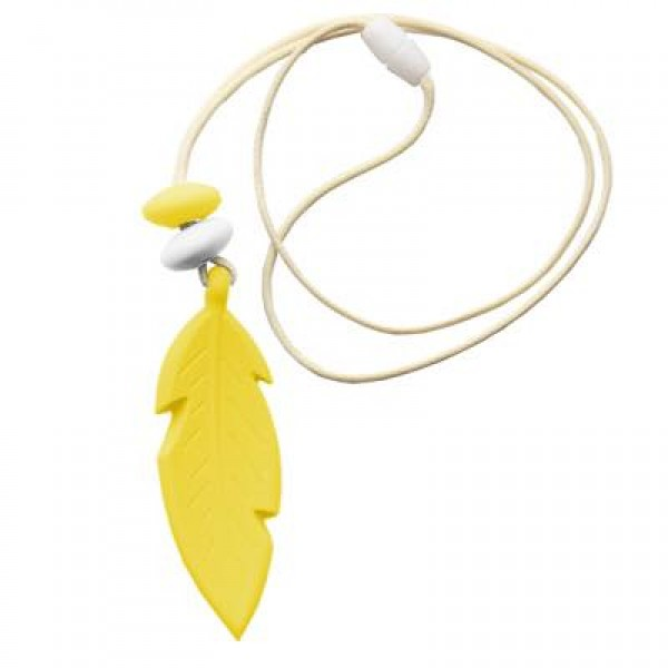 Nibbly Bits Feather Silicon Pendant - Yellow