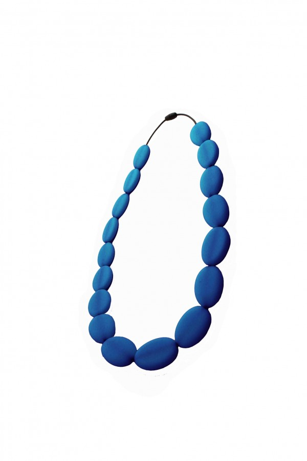 Nibbly Bits Flat Bead Silicon Necklace - Navy