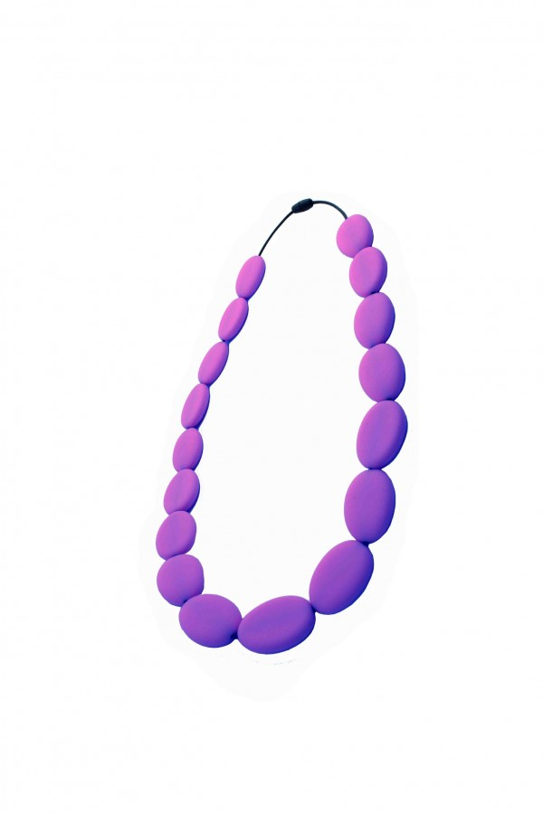 Nibbly Bits Flat Bead Silicon Necklace - Purple