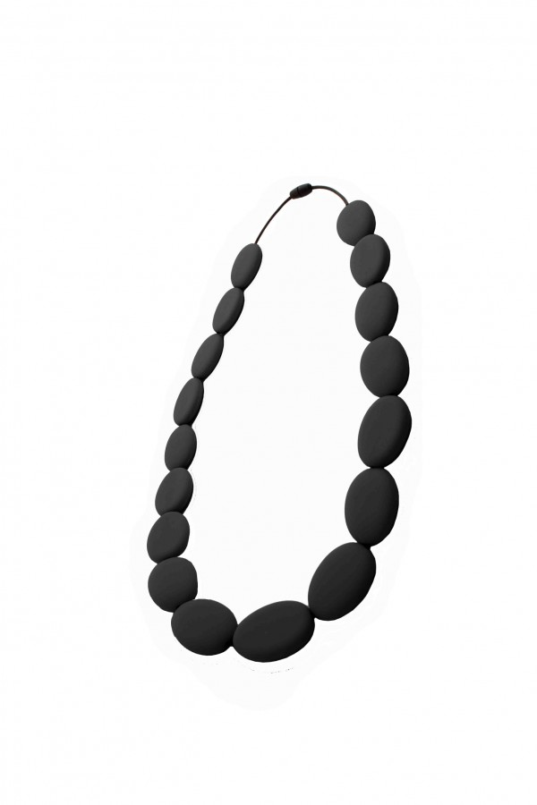Nibbly Bits Flat Bead Silicon Necklace - Black