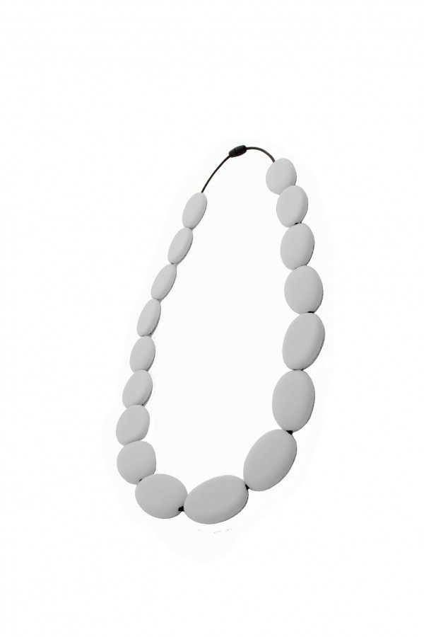 Nibbly Bits Flat Bead Silicon Necklace - Grey