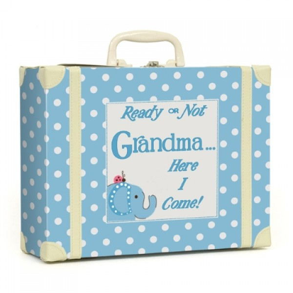 Going to Grandmas Polka Dot Suitcase - Blue