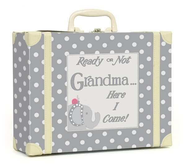 Going to Grandmas Polka Dot Suitcase - Grey