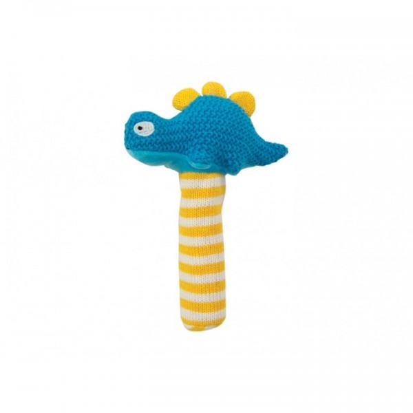 Crochet baby hand rattle Dinosaur