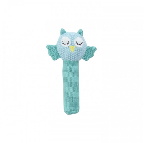 Crochet baby hand rattle Blue Owl