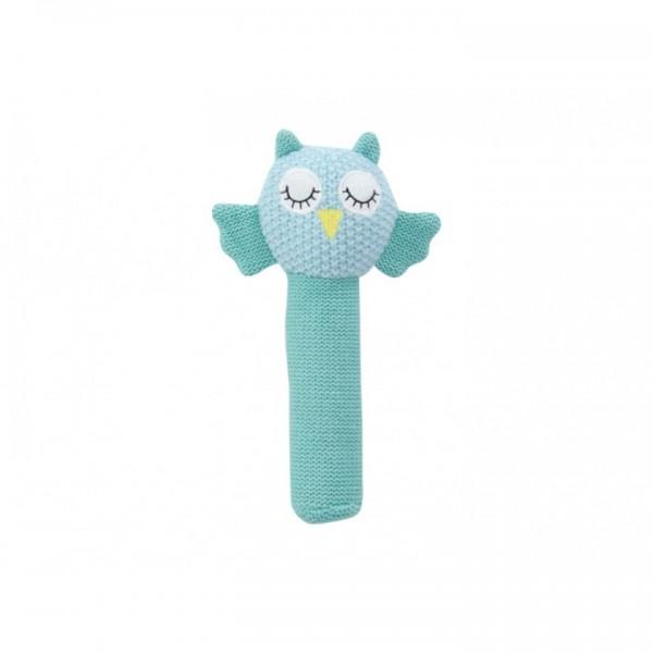 Crochet baby hand rattle Blue Owl