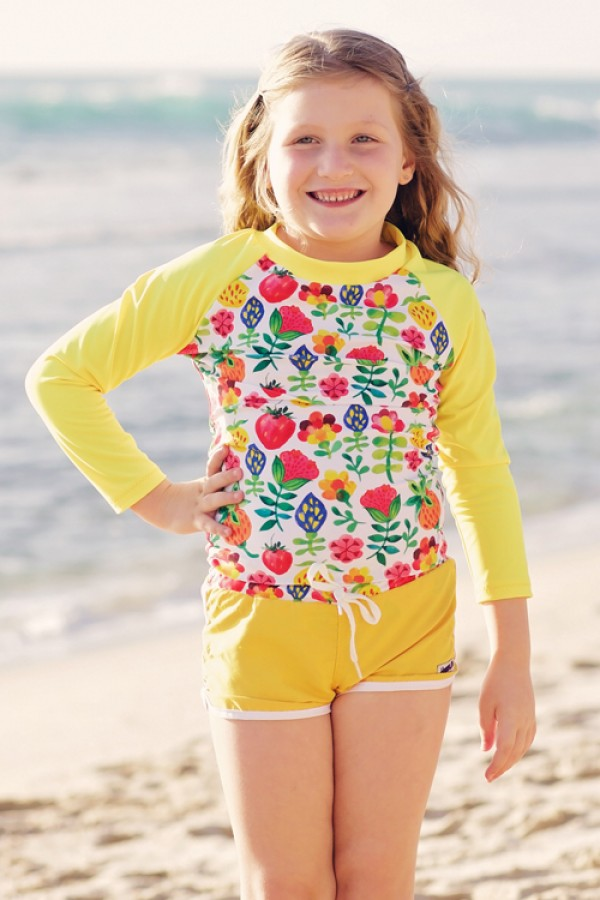 HeavenLee Swimwear - Long Sleeve Rash Top - Summer Garden
