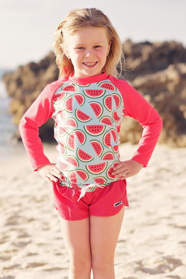 HeavenLee Swimwear - Long Sleeve Rash Top - Watermelon