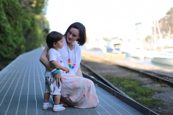 Lady wearing Abacus Rainbow Necklace