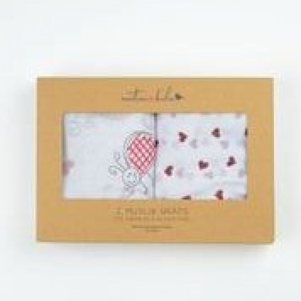 2 x Muslin Wrap Ladybird & Red Hearts