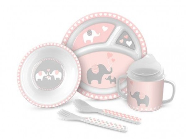 Lady Jayne 5 Piece Melamine Feeding Gift Set - Pink Elephant