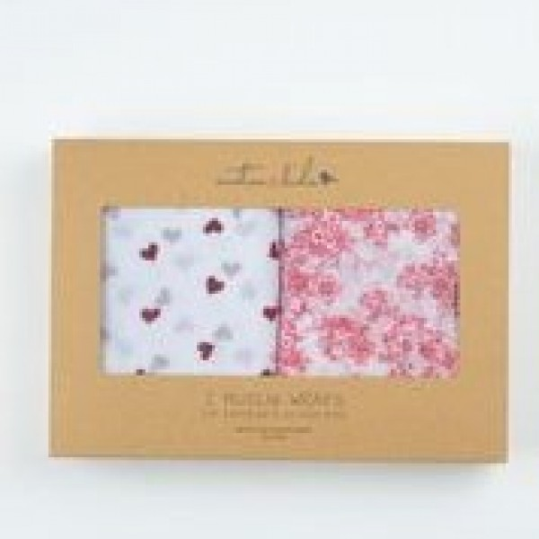 2 x Muslin Wrap Red Hearts & Cherry Blossom