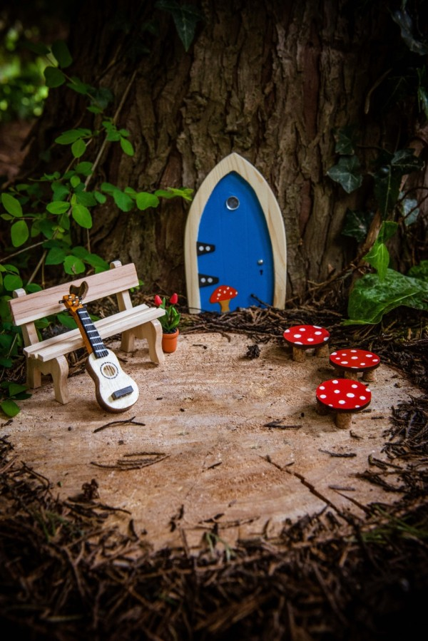 the Irish Fairy Door Company - Blue Arch Fairy Door on tree