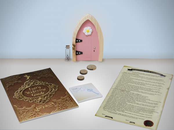 the Irish Fairy Door Company - Pink Arch Fairy Door includes