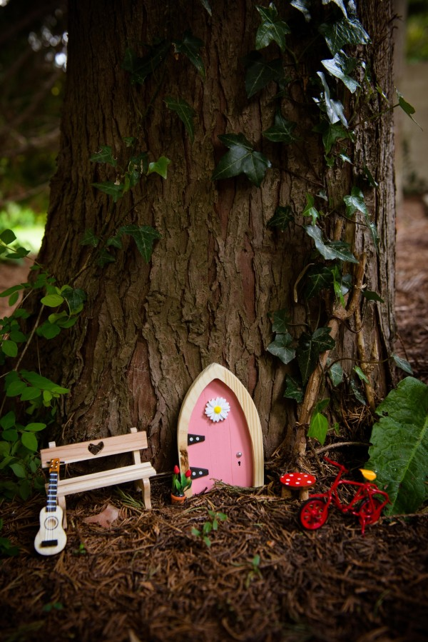 the Irish Fairy Door Company - Pink Arch Fairy Door on tree