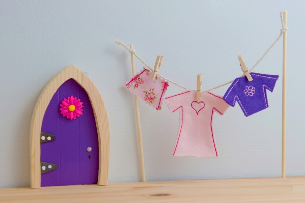 the Irish Fairy Door Company - Purple Arch Fairy Door clothes line