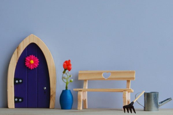 the Irish Fairy Door Company - Purple Arch Fairy Door Garden set