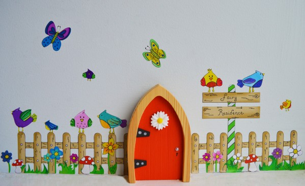 the Irish Fairy Door Company - Red Arch Fairy Door Fence Wall Art
