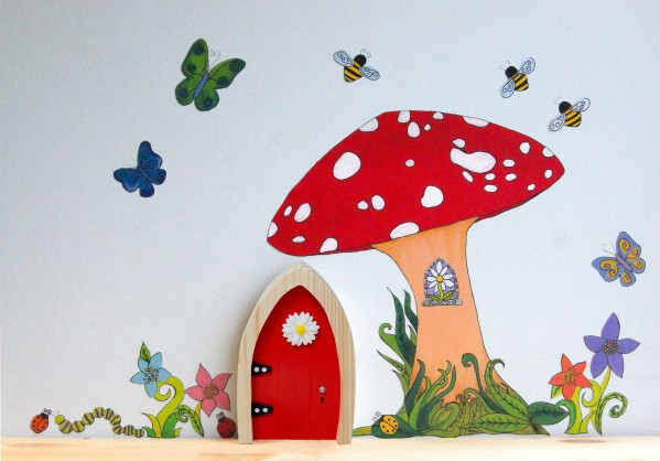 the Irish Fairy Door Company - Red Arch Fairy Door Toadstool Wall Art