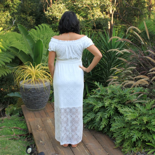 Goosebumps Clothing Rose White Lace Maxi Dress - Back